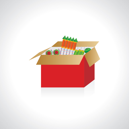 skyrocket: many crackers in the box vector