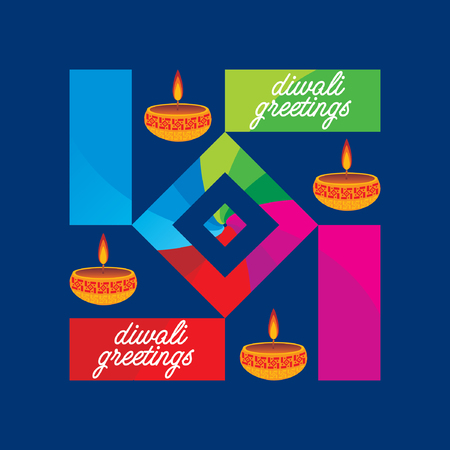 diwali concept with lamp vector Illustration