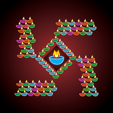 swastika: diwali concept with lamp vector Illustration
