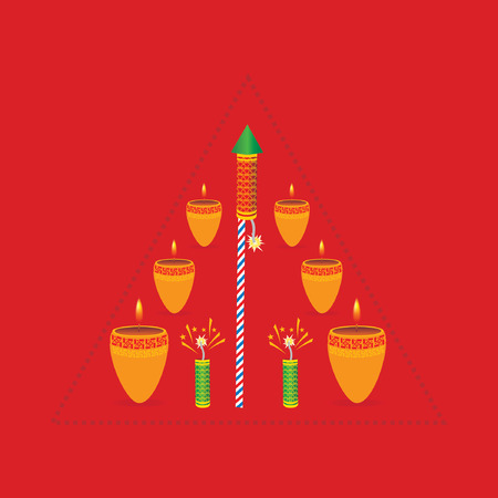deepak: diwali concept with lamp vector Illustration