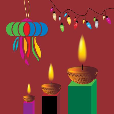 deepak: diwali concept with lamp vector Illustration