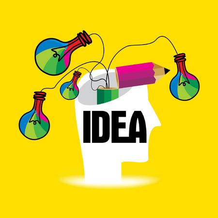 人間の頭のベクトルと独創的なアイデアの概念