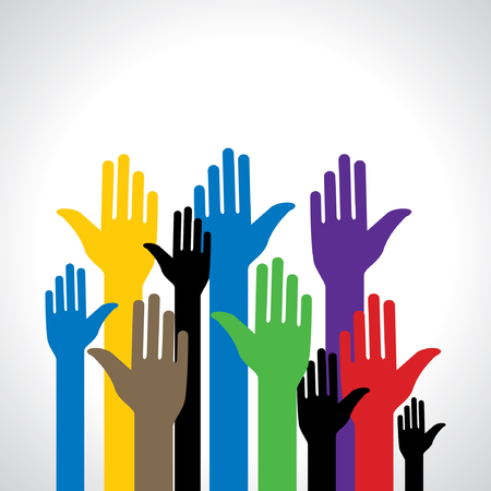 ni�os ayudando: colorido de pie ilustraci�n vectorial mano