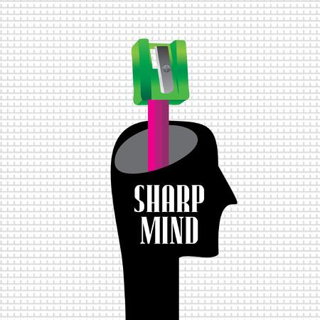 sharp: sharp mind concept with human head Illustration
