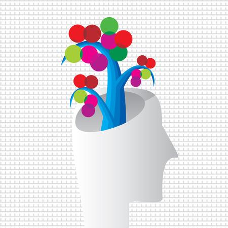people shadow: creative tree with human head