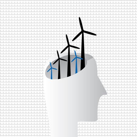 human energy: creative wind energy with human head Illustration