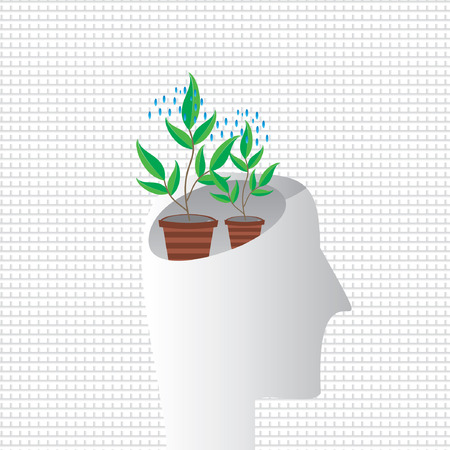 plant in pot: creative plant pot inside of human head