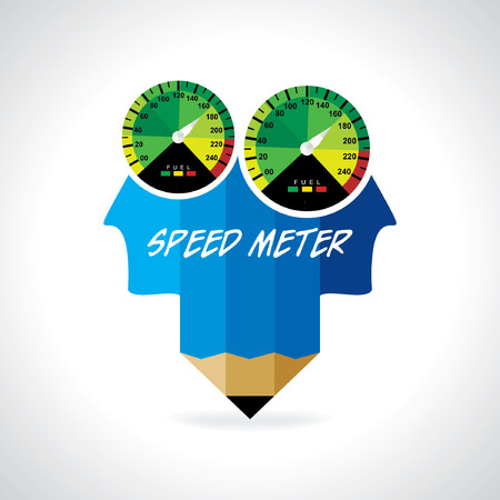 tariff: creative speed meter connect pencil vector Illustration