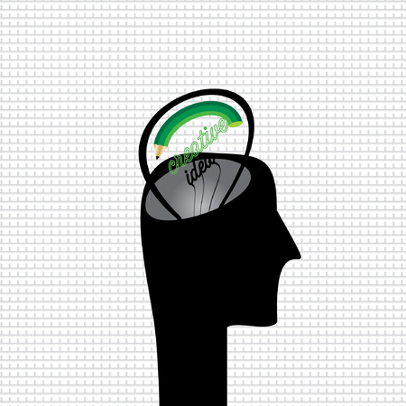 contemplation: creative human head with bulb idea vector Illustration