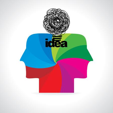 creative idea with human head vector