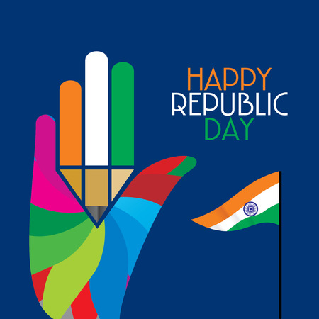 26 january: Happy republic day concept  Illustration
