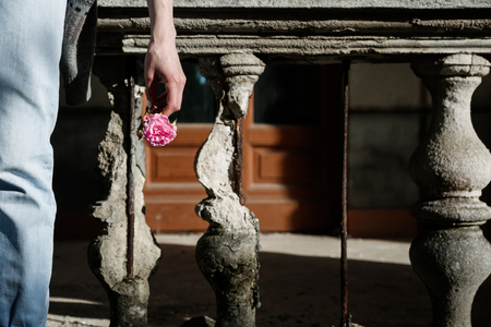 statuary garden: Girl holding a flower on the backdrop of the collapsed railings
