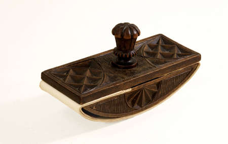 antiques: ANTIQUES WOODEN paperweight