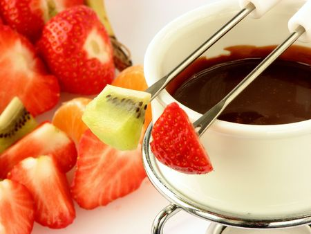 chocolate fondue with fruit