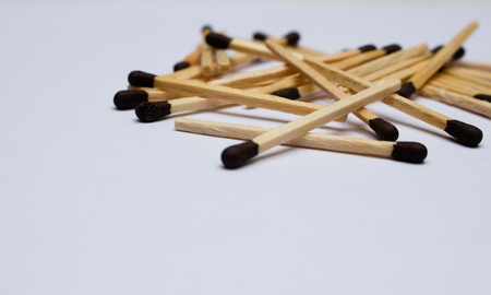 matches on white background aligned to the right Stock Photo