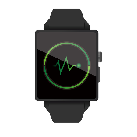 black fashion model: Smart watch illustration on white background