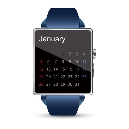 decency: Smart watch illustration on white background