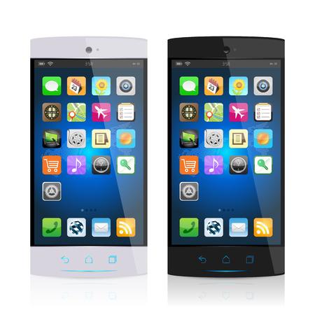black: Black & white mobile phone Illustration