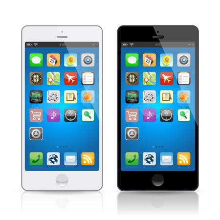 Black & white mobile phone Stock Illustratie