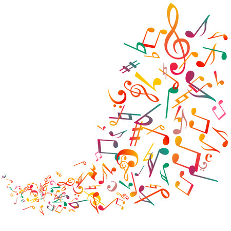 Abstract music notes background, vector Illustration