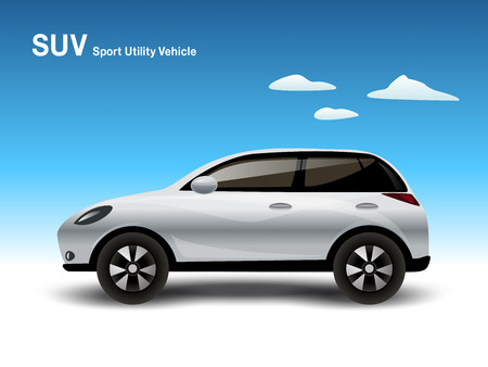 4wd: White Luxury Compact SUV Car, Vector Illustration.