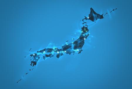 Security network structure, Japan Map Background Illustration Stok Fotoğraf