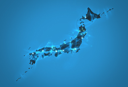 Security network structure, Japan Map Background Illustration Stock Photo