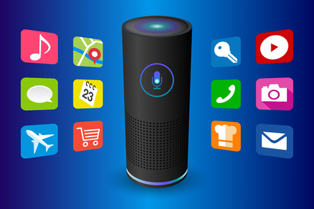 Voice control user interface smart speaker black color vector illustration.