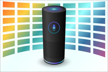 音声制御ユーザーインターフェイススマートスピーカー黒色ベクトルイラスト。