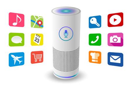 音声制御ユーザーインターフェイススマートスピーカー白色ベクトルイラスト。  イラスト・ベクター素材
