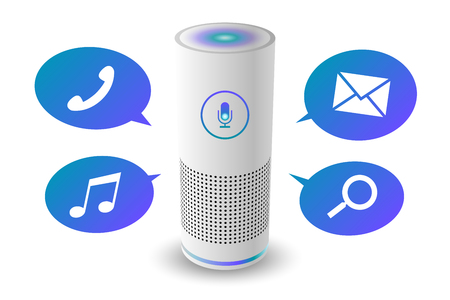 Voice control user interface smart speaker white color vector illustration.