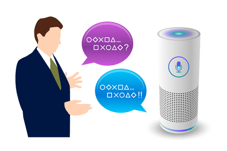 Voice control smart speaker white color and man. vector illustration.