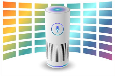 Voice control user interface smart speaker white color vector illustration.