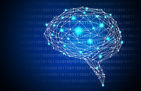 Blue Intelligent Artificial brain mother computer. illustration background image.