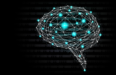 Green Intelligent Artificial brain mother computer. illustration background image. Standard-Bild