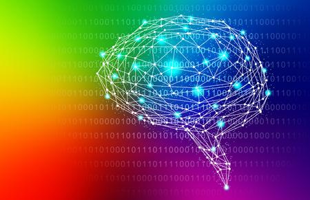 Rainbow Intelligent Artificial brain mother computer. illustration background image.