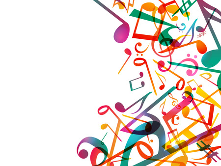 Colorful Music notes. Vector Illustration Abstract white background.