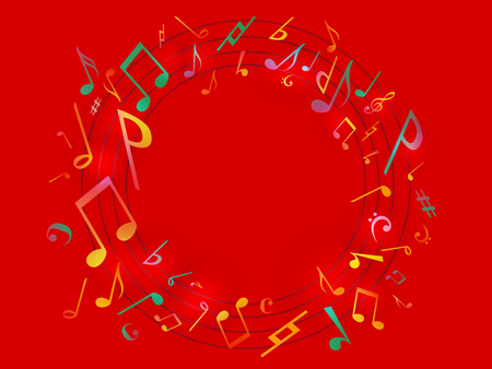 Red Music notes melody poster. Vector Illustration Abstract background.
