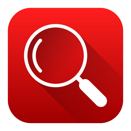 Search icon, square red background, white line, vector illustration Illustration