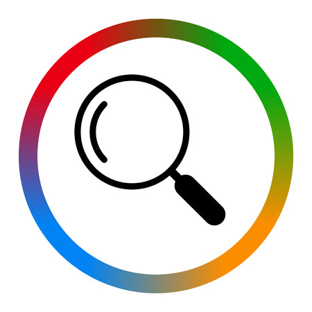 Search the flat icon, colorful background square, white line, vector illustration