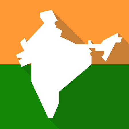 vector india map orange and green, long shadow, simple illustration.