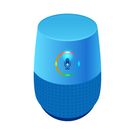 Voice control user interface smart speaker blue color vector illustration.