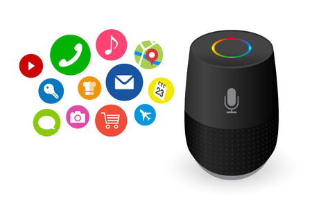 Voice control user interface smart speaker black color vector illustration. Illustration