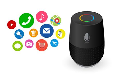Voice control user interface smart speaker black color vector illustration. Illustration