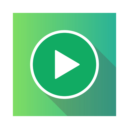 Video movie play, playback button icon vector illustration. green color.  イラスト・ベクター素材