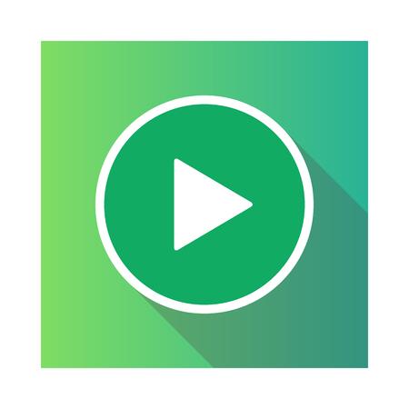 ビデオムービー再生、再生ボタンアイコンベクトルイラスト。緑色。  イラスト・ベクター素材