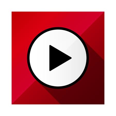ビデオムービー再生、再生ボタンアイコンベクトルイラスト。赤の色。  イラスト・ベクター素材