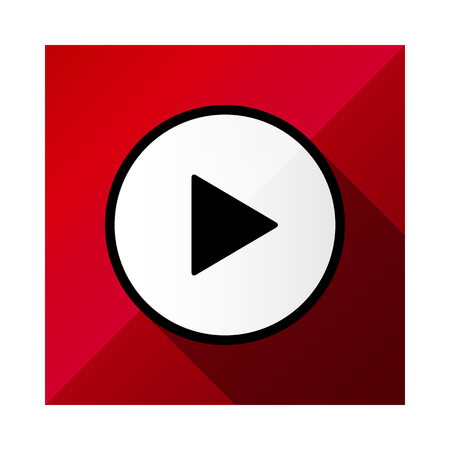 Video movie play, playback button icon vector illustration. red color.