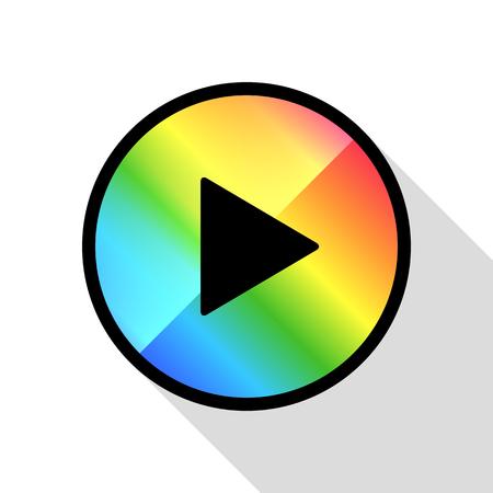 ビデオムービー再生、再生ボタンアイコンベクトルイラスト。虹色。