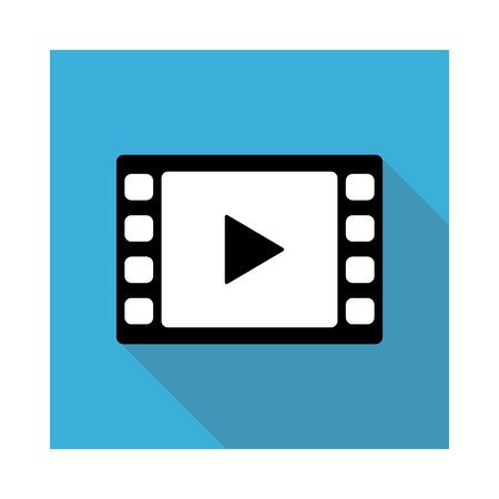 Video movie play, playback button icon vector illustration. light blue color.